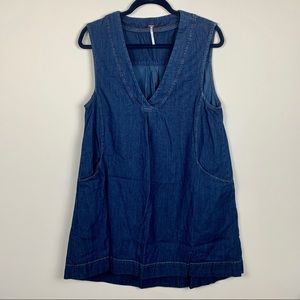 Free people denim oversize swing mini dress